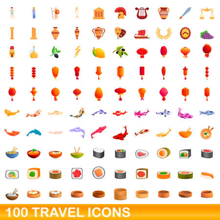 100 travel icons set, cartoon style Stock Illustratie