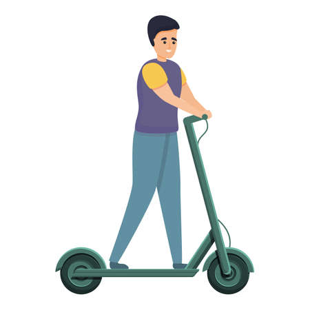 Boy ride electric scooter icon, cartoon style