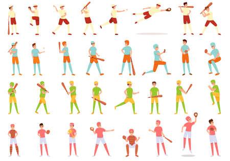 Kids playing baseball icons set, cartoon style