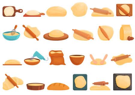 Dough icons set, cartoon style Vektorgrafik