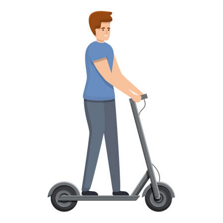 Modern electric scooter icon, cartoon style