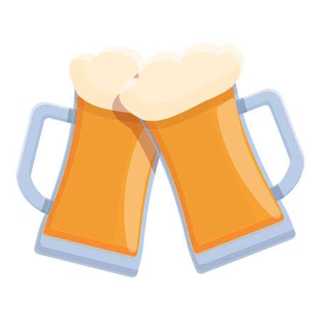 Beer cheers icon, cartoon style Stock Illustratie