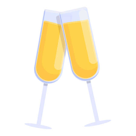 Champagne cheers icon, cartoon style