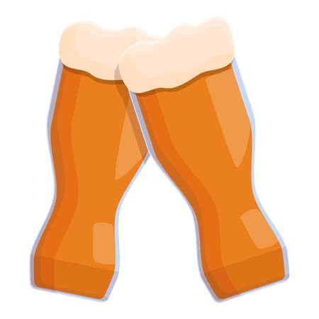 German beer cheers icon, cartoon style Stock Illustratie