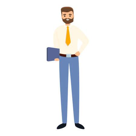 Successful businessman tablet icon, cartoon style Stock Illustratie
