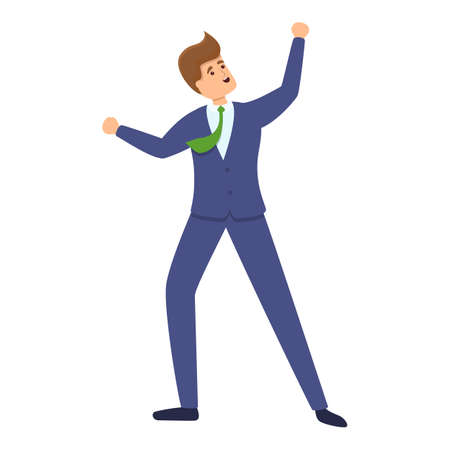 Successful businessman happy icon, cartoon style  イラスト・ベクター素材