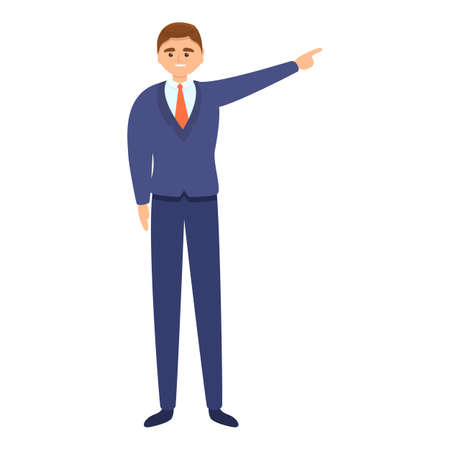 Successful businessman startup icon, cartoon style