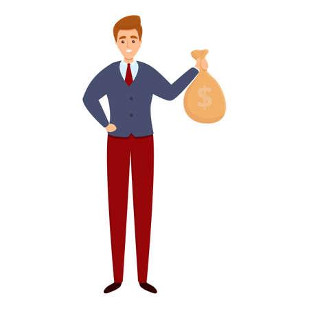 Successful businessman money bag icon, cartoon style