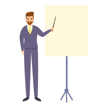 Successful businessman presentation icon, cartoon style