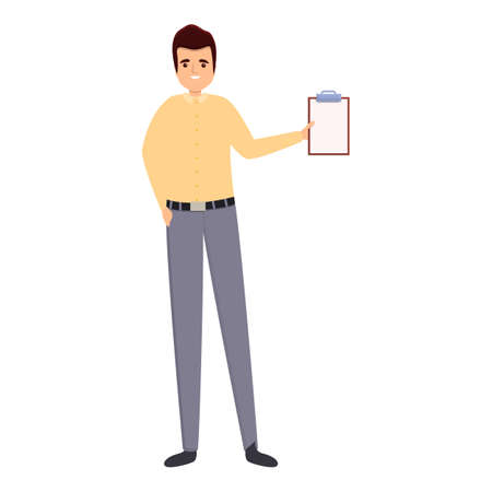 Successful businessman to do list icon, cartoon style