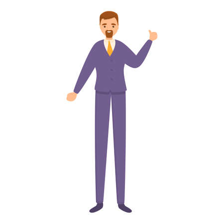 Successful businessman thumb up icon, cartoon style Stock Illustratie