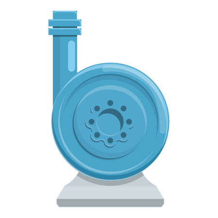 Steel water pump icon, cartoon style
