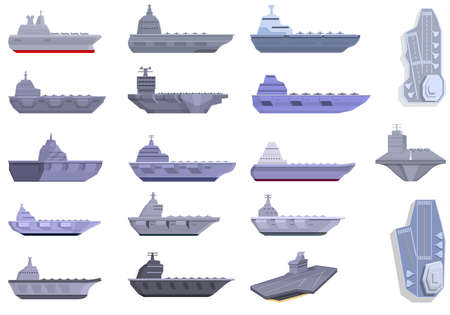 Aircraft carrier icons set, cartoon style