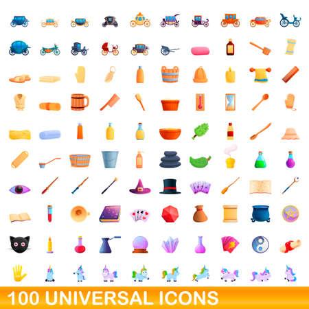 100 universal icons set, cartoon style Vettoriali
