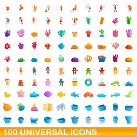 100 universal icons set, cartoon style Çizim