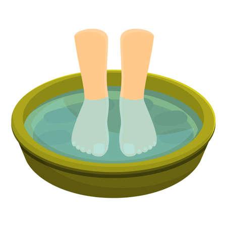 Beauty foot bath icon, cartoon style