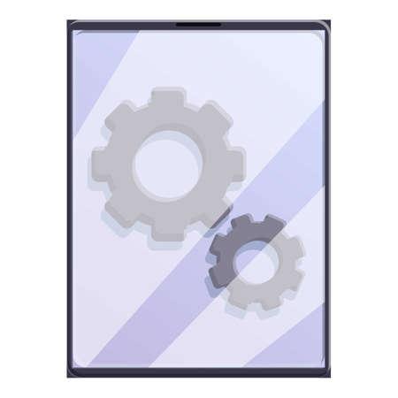 Broken mechanic tablet icon, cartoon style