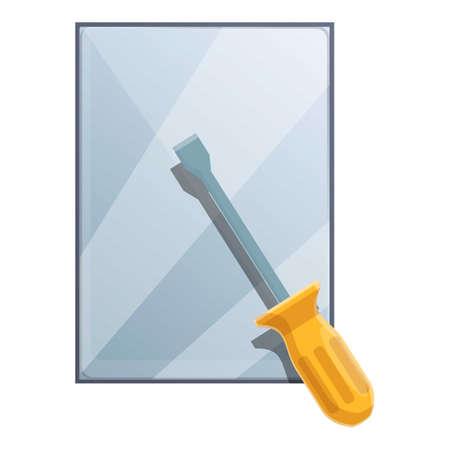 Screwdriver tablet repair icon, cartoon style