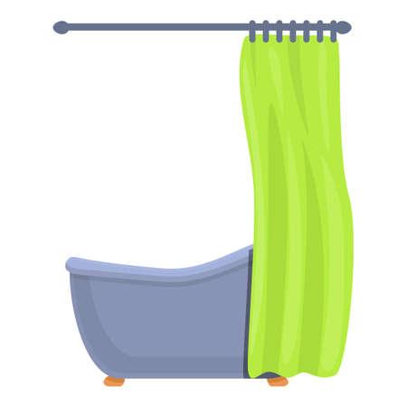 Shower curtain bathroom tub icon, cartoon style