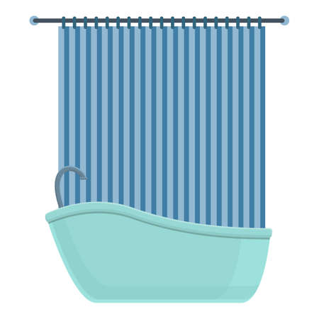 Shower curtain house icon, cartoon style
