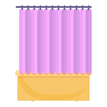 Shower curtain clean icon, cartoon style