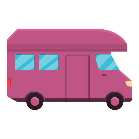 Motorhome camp icon, cartoon style