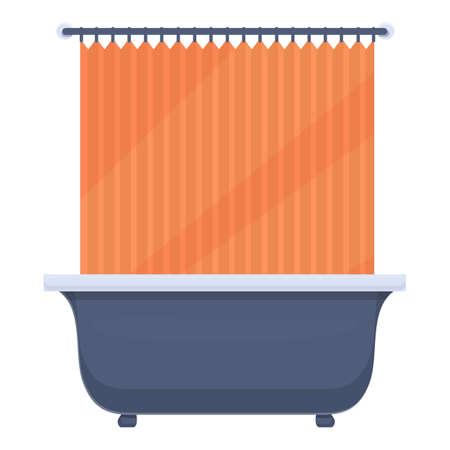 Shower curtain spa icon, cartoon style