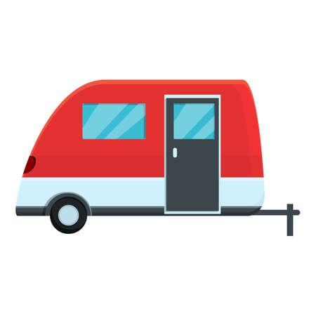 Motorhome adventure icon, cartoon style