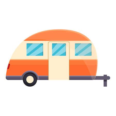 Camp trailer icon, cartoon style