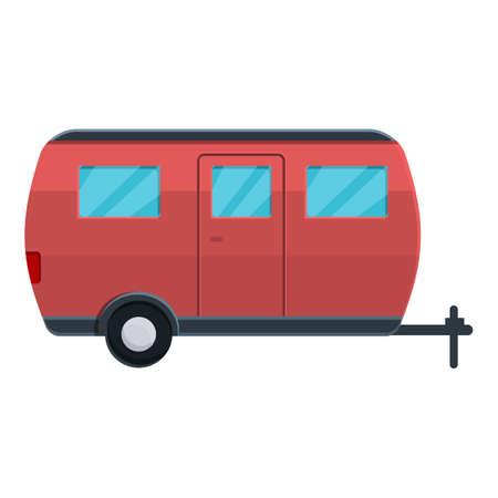 Caravan camp trailer icon, cartoon style
