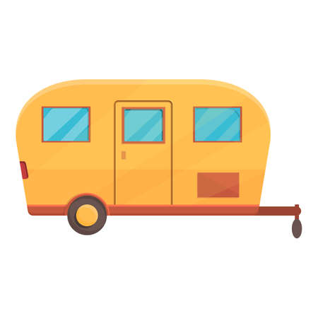 Recreation trailer icon, cartoon style