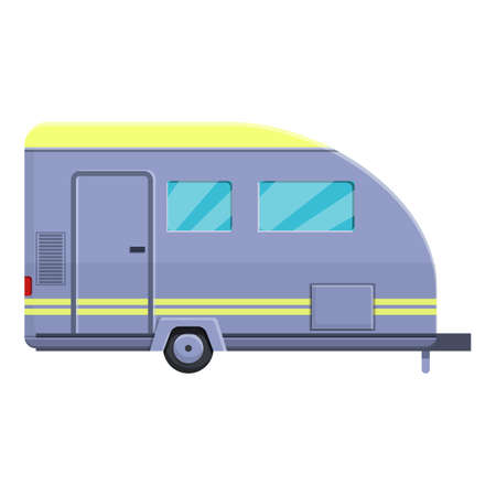 Vacation camp trailer icon, cartoon style