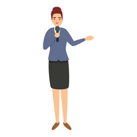 Woman reportage icon, cartoon style