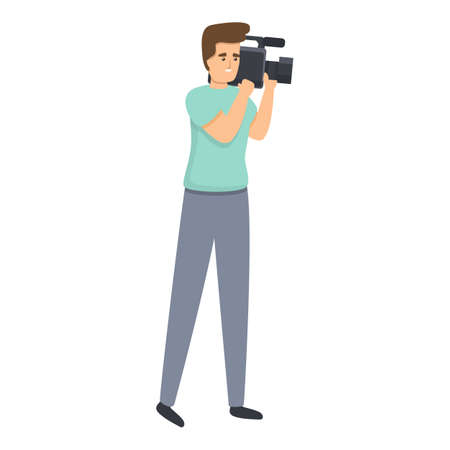 Cameraman reportage icon, cartoon style 向量圖像