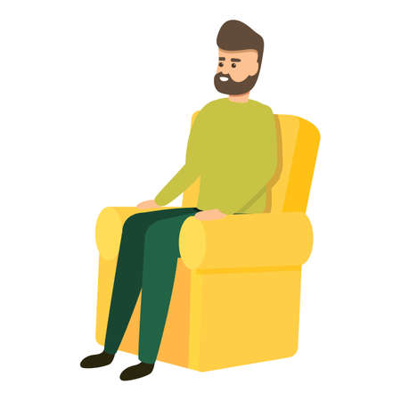 Interview man in armchair icon, cartoon style
