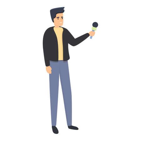 Reportage university student icon, cartoon style 向量圖像
