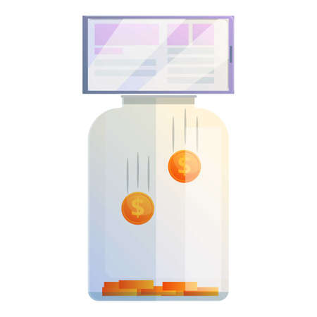 Jar monetization icon, cartoon style 向量圖像