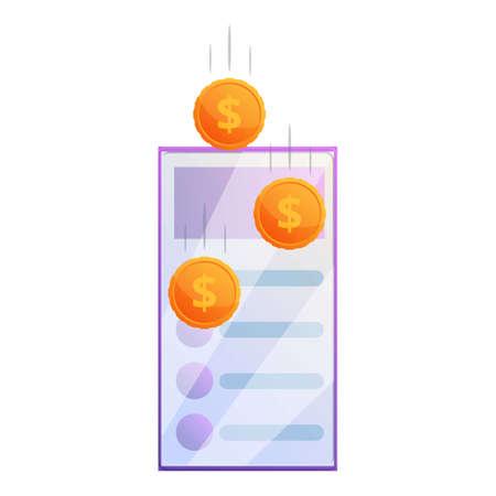 Data monetization icon, cartoon style