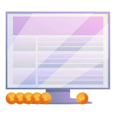 Data monitor monetization icon, cartoon style