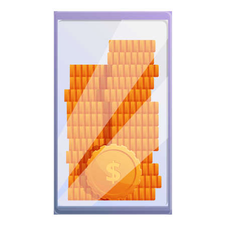 Monetization coin stack icon, cartoon style