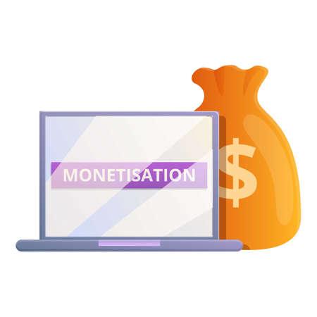 Laptop monetization icon, cartoon style
