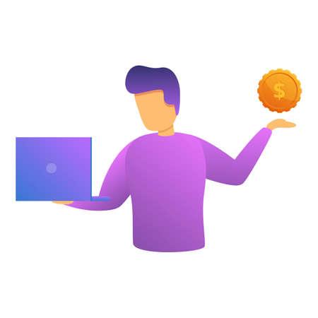 Freelancer monetization icon, cartoon style
