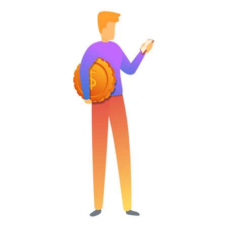 Smartphone coin monetization icon, cartoon style