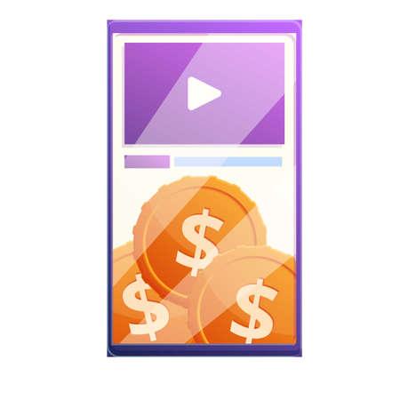 Smartphone video monetization icon, cartoon style