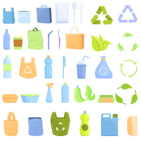 Biodegradable plastic icons set, cartoon style 向量圖像