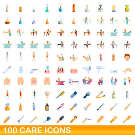 100 care icons set, cartoon style