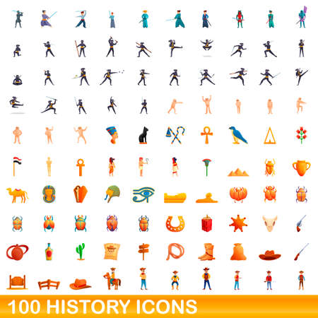 100 history icons set, cartoon style 向量圖像