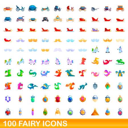 100 fairy icons set, cartoon style 版權商用圖片