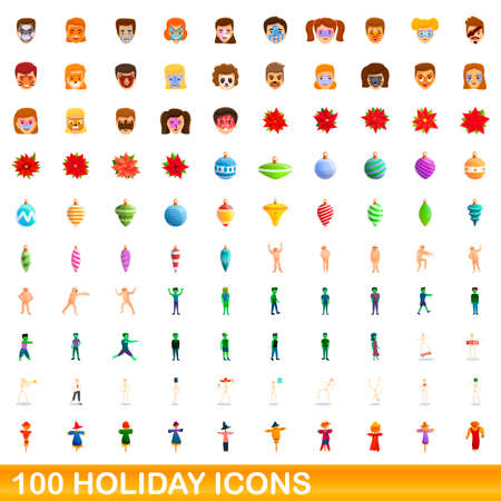 100 holiday icons set, cartoon style 向量圖像
