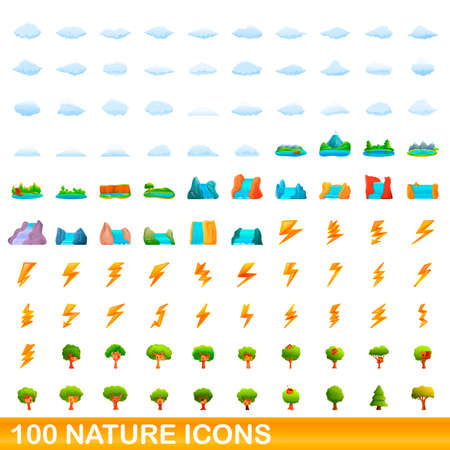 100 nature icons set, cartoon style